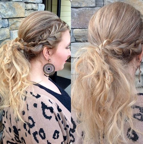 messy pony with a side braid