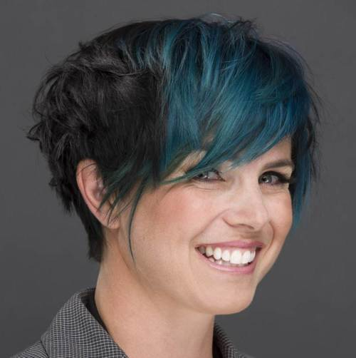 long brunette pixie with angled layers