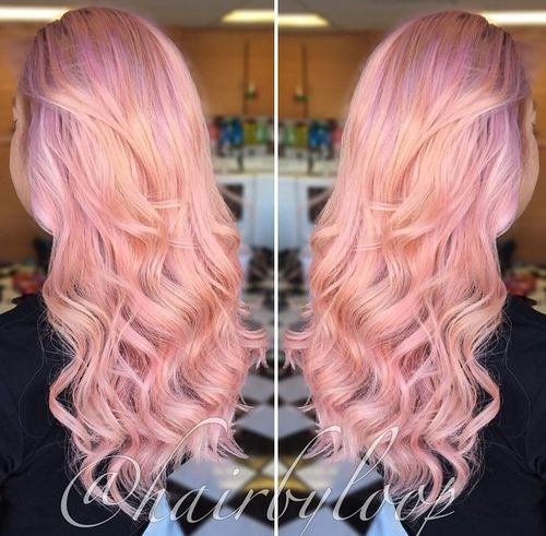 long wavy pastel pink ombre hairstyle