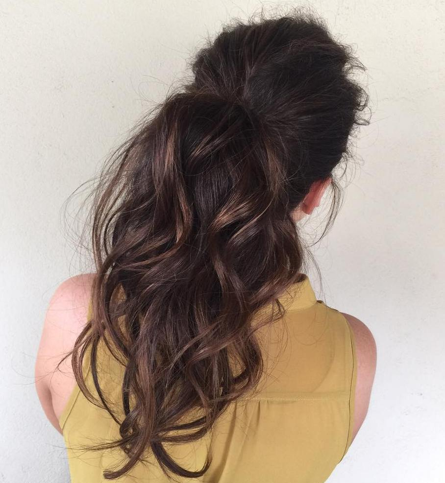 Simple Curled Brunette Ponytail