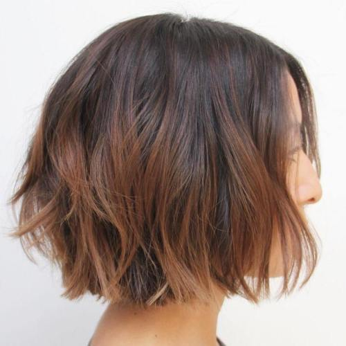 Choppy Brown Balayage Bob