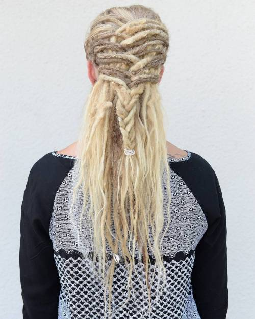 Half Up Braid For Blonde Dreadlocks