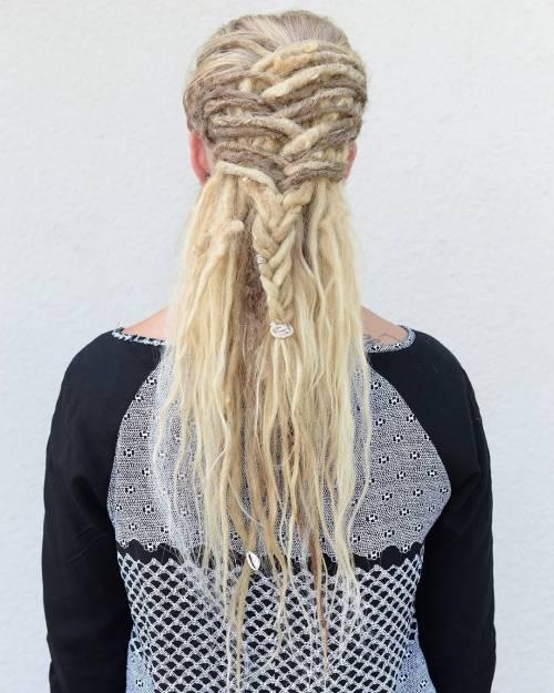 Half Up Braid For Blonde Dreadlocks
