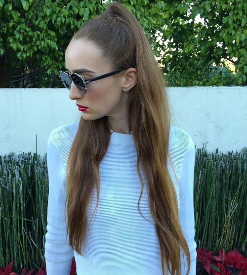 Long Half Up Ponytail