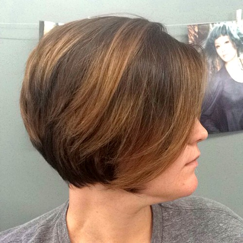 short dark brown balayage bob
