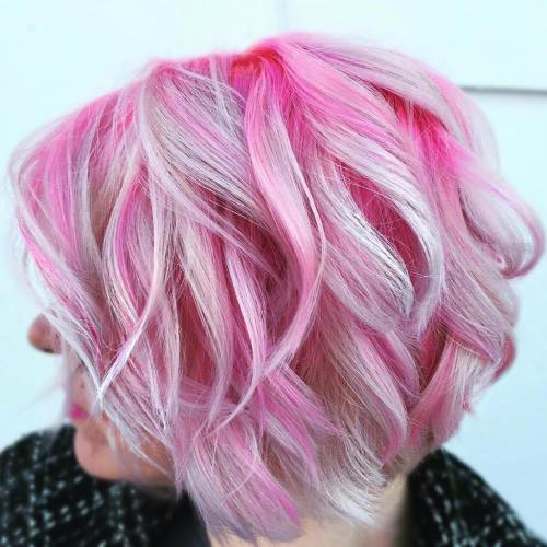 Pink Wavy Bob With Platinum Highlights