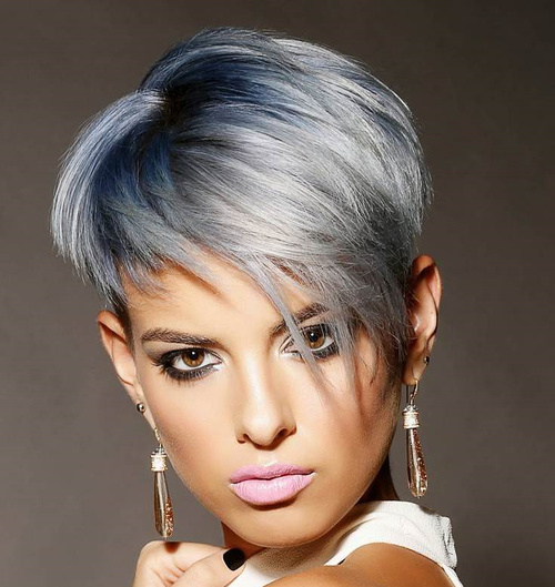 Pixie Hairstyles cool medium length hair everyday hairstyle Silver Asymmetrical Pixie With Blue Balayage