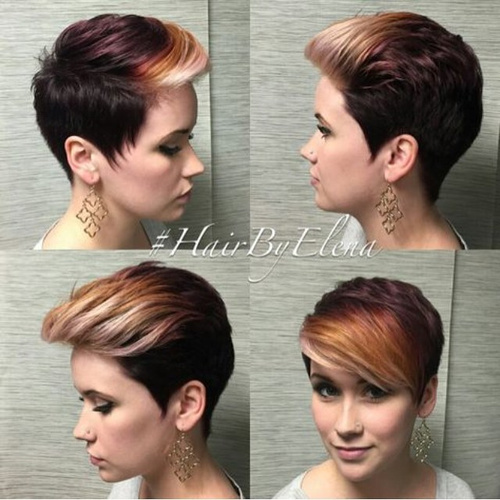 feathered pixie with highlighted bangs