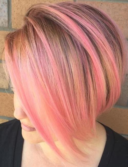 Pastel Pink Highlights For Golden Blonde Bob
