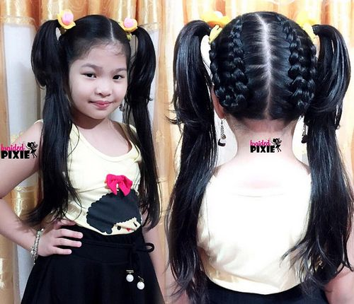 pigtails with braids for thick hair