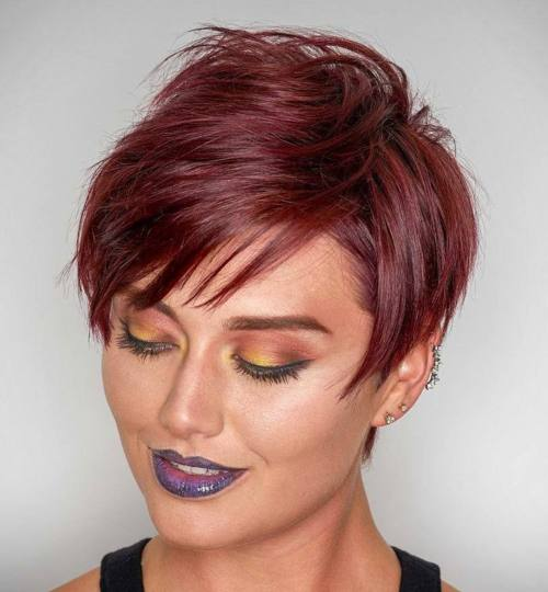 vine red layered pixie