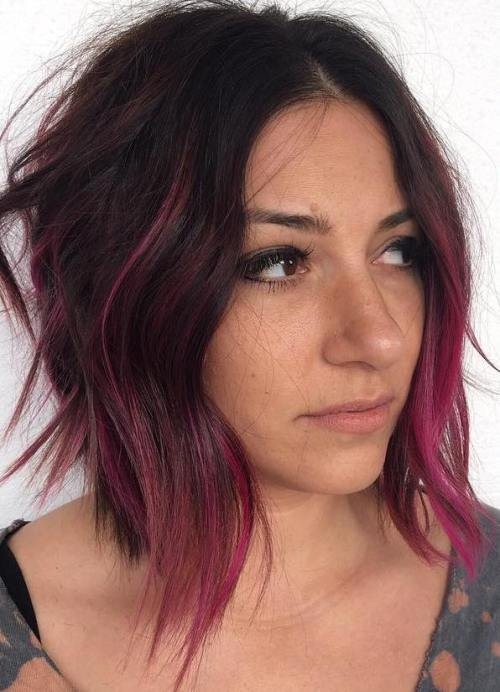 Choppy Brown Bob With Pink Balayage