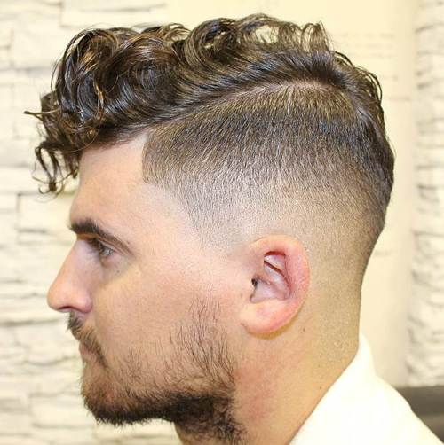 long curly top taper fade
