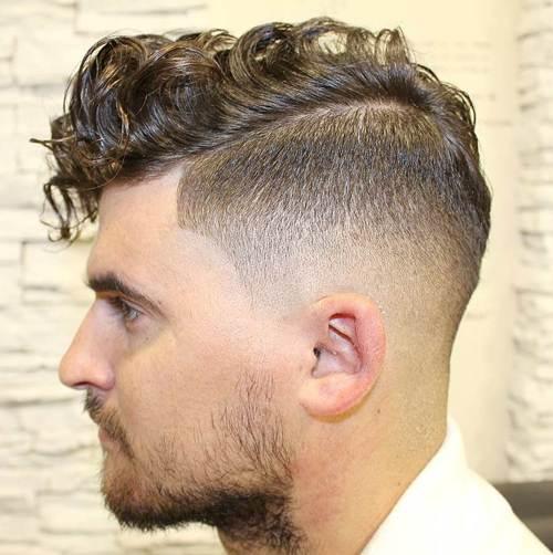 long curly top taper fade
