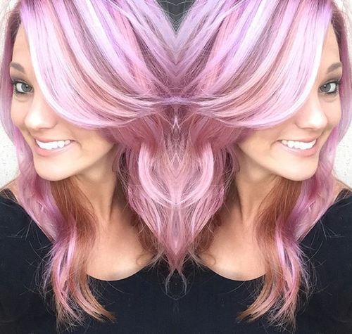 pastel pink hair with white highlights and brown lowlights