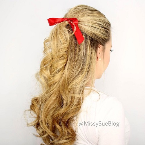 40 easy and chic half ponytails for straight wavy and curly hair blonde curly half ponytail urmus Choice Image