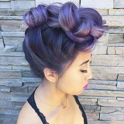 voluminous lavender faux hawk updo