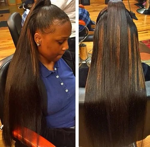 half ponytail for long relaxed black hair