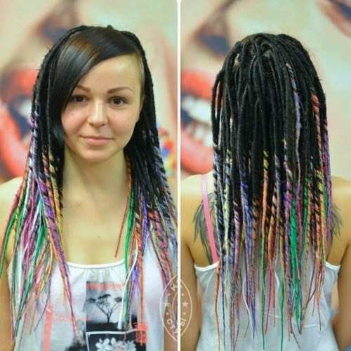 pastel dreadlocs with bangs