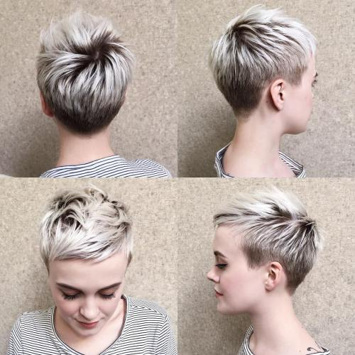 Blonde Pixie with Short Angled Layers