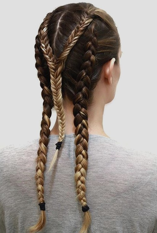 three braids hairstyle for layered hair