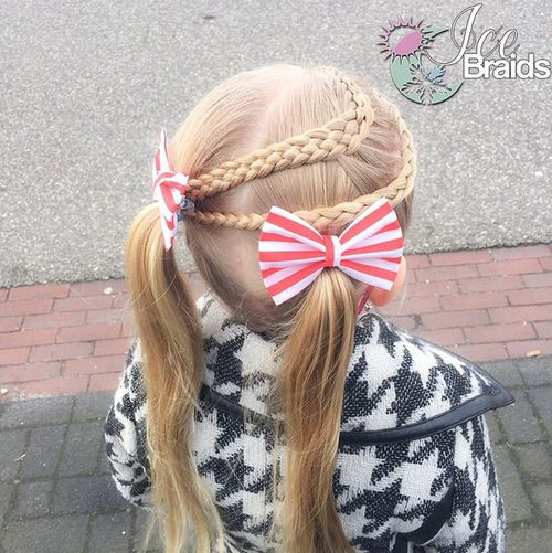 double braids and pigtails girls hairstyle