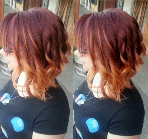 bob with burgundy to pastel orange ombre