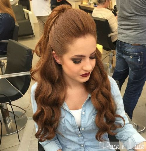 ponytail styles for long hair 40 easy and chic half ponytails for wavy and 2035 | 4 wavy half pony with a bouffant for long hair 1