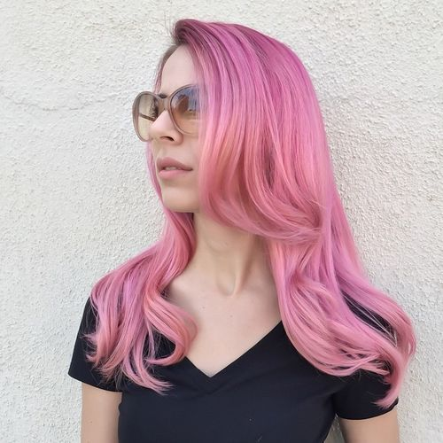 long layered pastel pink hair