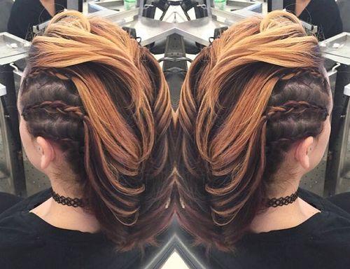 black braided fauxhawk with undercut