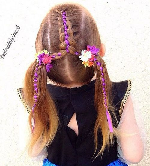 braid into pigtails hairstyle for girls