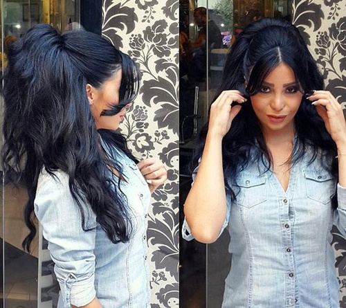 half pony hairstyle for thick hair