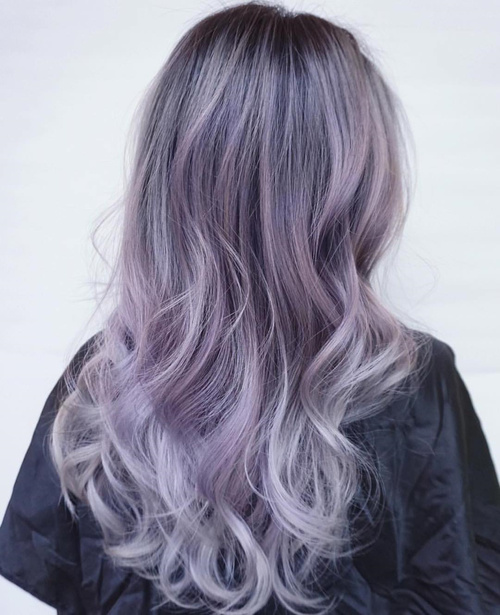 purple blonde hair with black roots