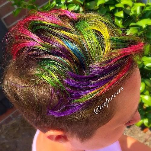Join. short rainbow hair curiously