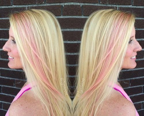blonde hair with pastel pink stripe