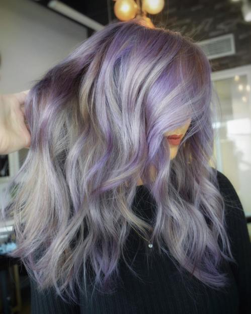 long wavy pastel purple hair