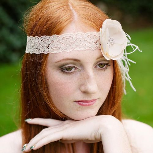 red hair with a lace headband