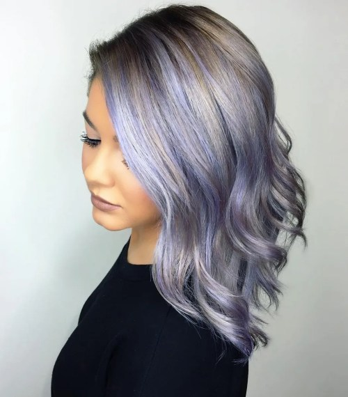 Silver And Pastel Purple Balayage Highlights