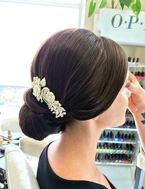 wedding chignon with a hair piece