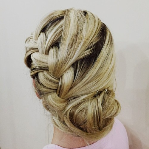 side braid into bun loose updo