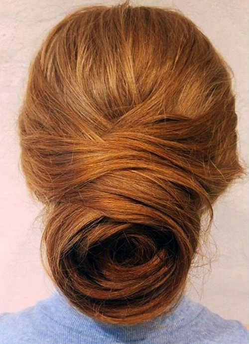 red messy chignon for long hair
