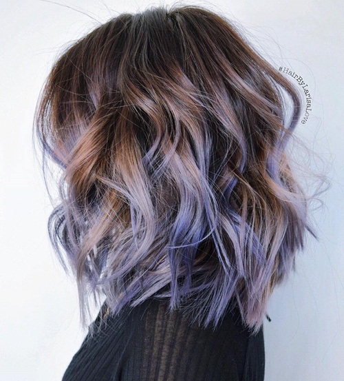 light brown bob with purple balayage