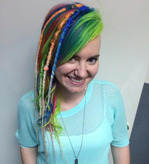 rainbow hair with dreadlocks