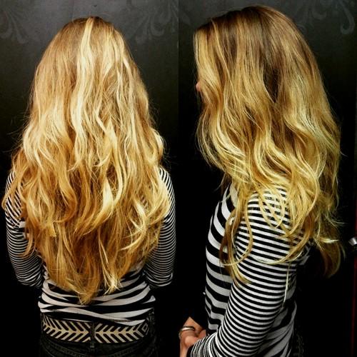 V cut for long wavy hair