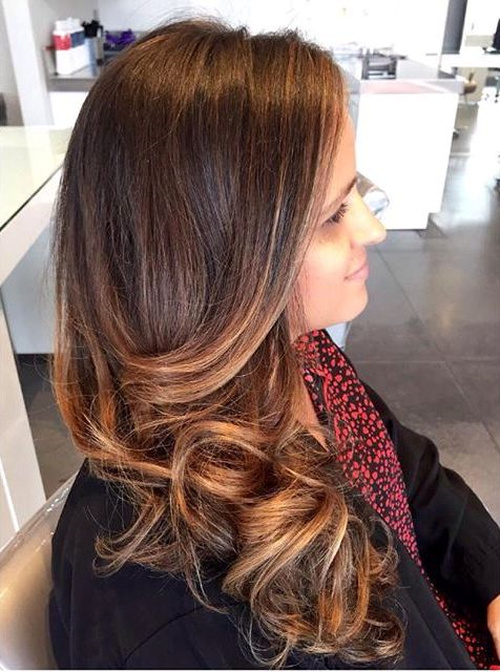 brown hair with caramel ombre highlights