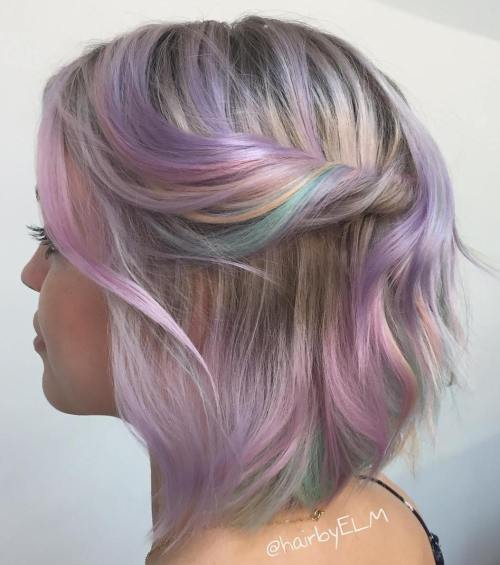 Pastel Balayage Bob For Thin Hair
