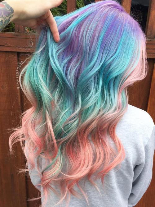 Purple Teal And Pink Balayage Hair