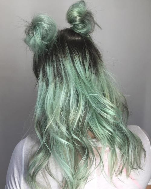 Pastel Green Hair With Black Roots