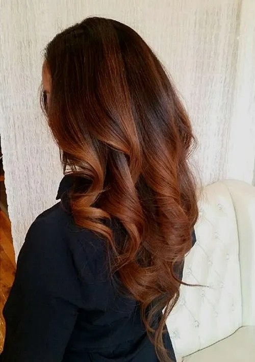 copper ombre highlights and V cut