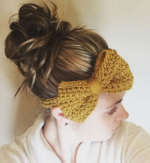 knitted headband with a messy bun